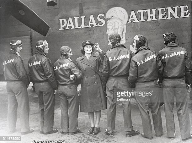 After christening the Liberator GI Jane at a British Base CPL Hazel Bliss WAC from Portland OR gives the OK sign She is standing with members of the...