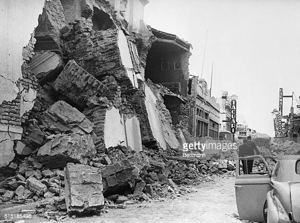 San Juan, Argentina: View of a building reduced to rubble by an earthquake in San Juan.