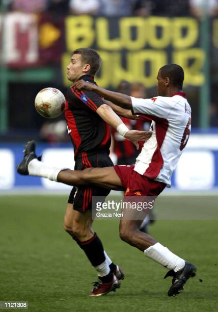 Andriy Shevchenko of AC Milan and Aldair of Roma in action during the Serie A match between AC Milan and Roma played at the San Siro Stadium Milan...