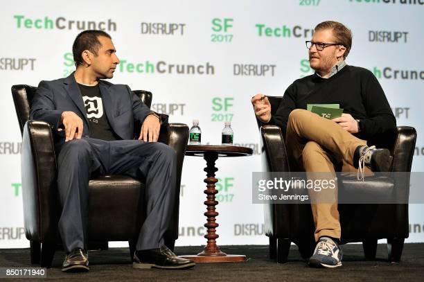 21co CEO Balaji Srinivasan and TechCrunch moderator Brian Heater speak onstage during TechCrunch Disrupt SF 2017 at Pier 48 on September 20 2017 in...