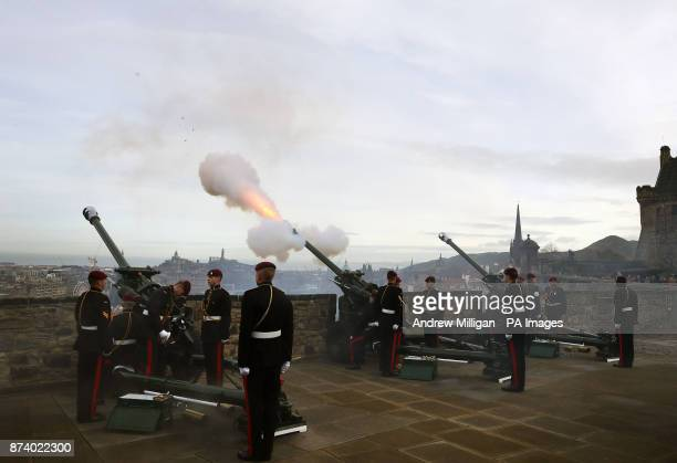 A 21gun salute is fired from the Mills Mount Battery at Edinburgh Castle to mark the Prince of Wales' 69th birthday by the 7th Parachute Regiment...