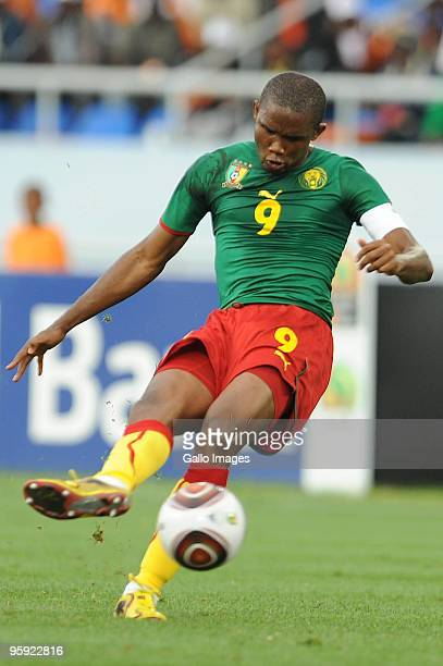 Samuel Eto'o of Cameroon during the Africa Cup of Nations match between Cameroon and Tunisia from the Alto da Chela Stadium on January 21 2010 in...