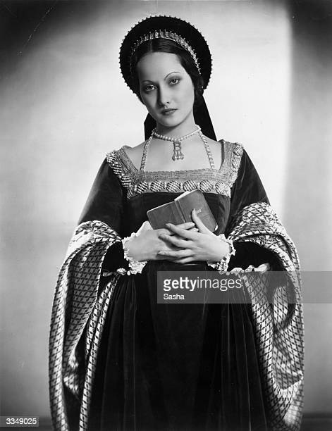 English film actress Merle Oberon in costume as Anne Boleyn for Alexandra Korda's film production 'The Private Life of King Henry VIII'
