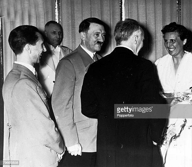 21st April 1938 Berlin Germany German Chancellor and Nazi Leader Adolf Hitler accompanied by his Minister of Propaganda Dr Goebbels introduces a...