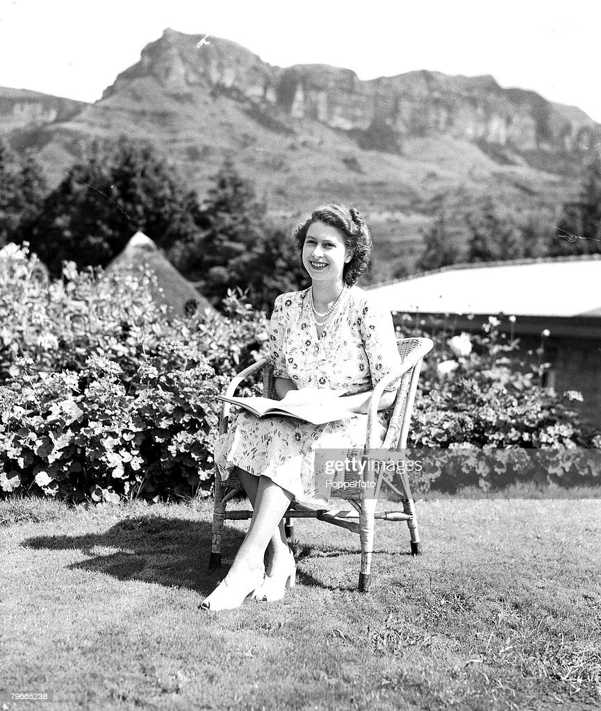 21st April 1947, Natal, South Africa, Princess Elizabeth (later Queen Elizabeth II) poses on her 21st birthday during the Royal Tour of South Africa