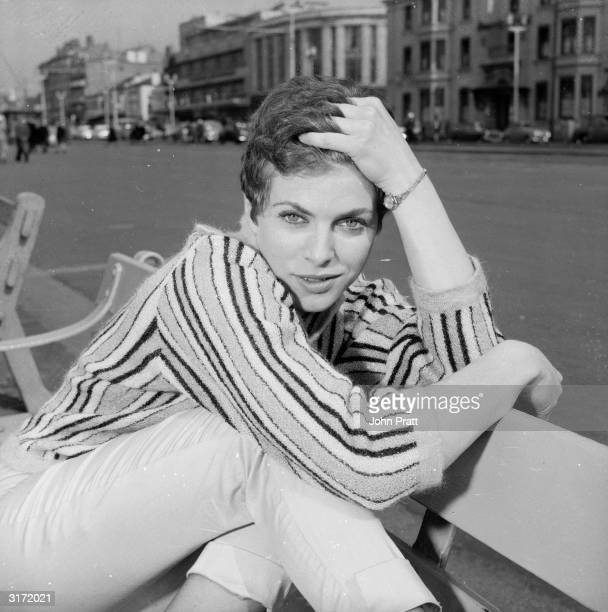 British actress Billie Whitelaw relaxing on the front at Blackpool where she is starring in the play 'Progress In The Park' prior to its West End...