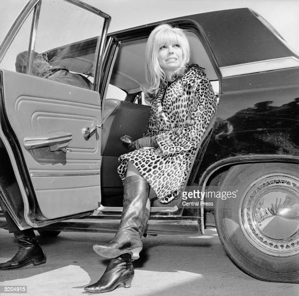 American singer Nancy Sinatra gets out of a car wearing a leopard skin coat and knee length boots