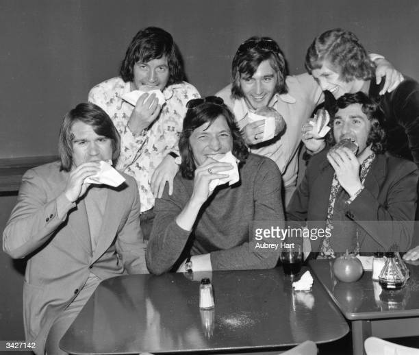 Chelsea footballers enjoy hamburgers at Custer's Last Stand restaurant in Fulham Road Chelsea London David Webb John Boyle Micky Droy Alan Hudson...