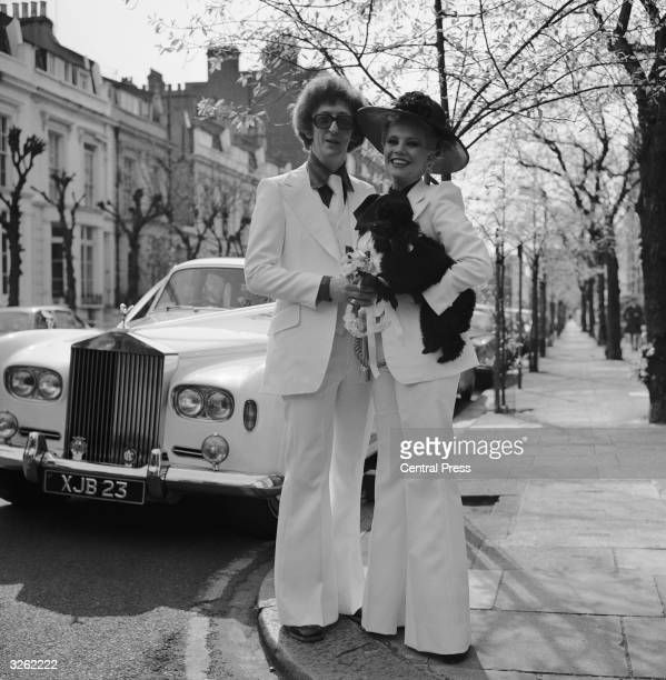 Benny Hill's leading lady Diana Darvey with her newlywed husband Terry Gittings outside the Kensington Registry Office