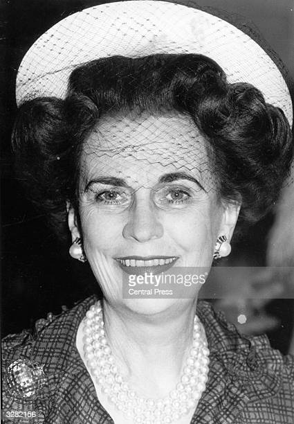 Margaret Duchess of Argyll in veil and pearls