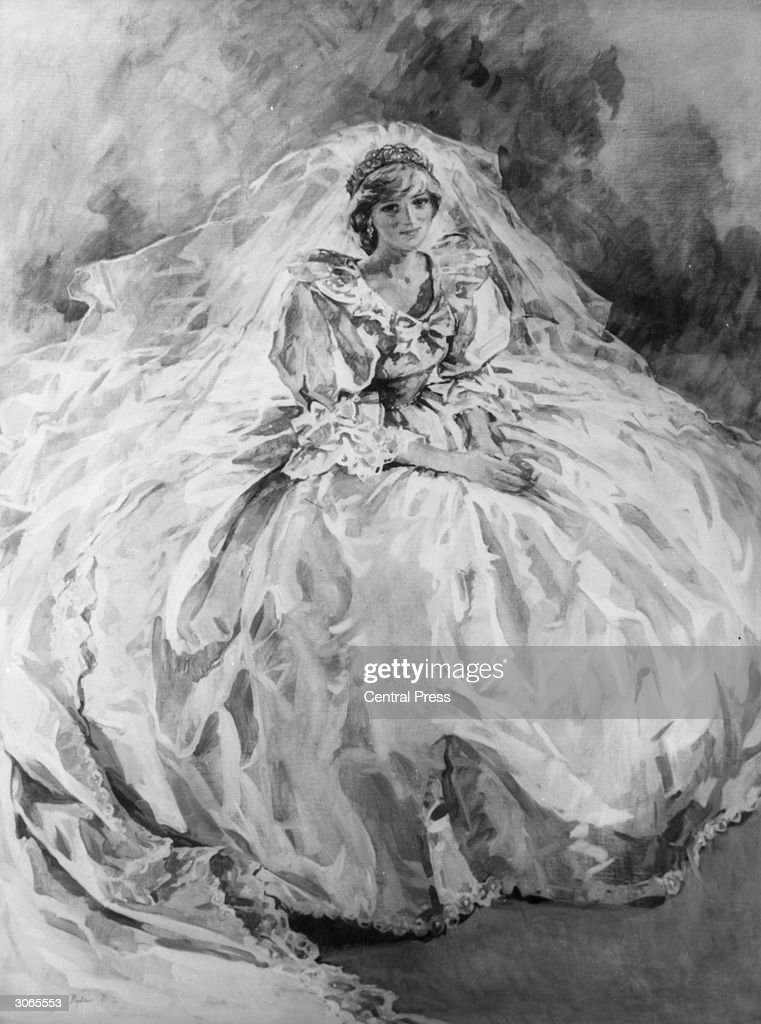 Princess Diana in her wedding dress. Original Artwork: Painting by Sue Ryder
