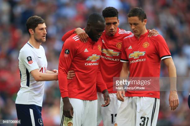 21st April 2018 Emirates FA Cup SemiFinal Manchester United v Tottenham Hotspur Chris Smalling of Manchester United speaks to team mates Romelu...