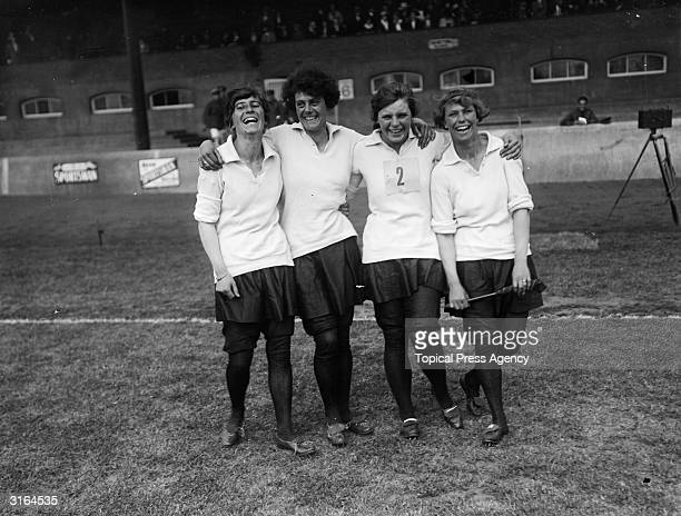 The winning relay team of WRAF's Royal Air Force sports at Stamford Bridge.