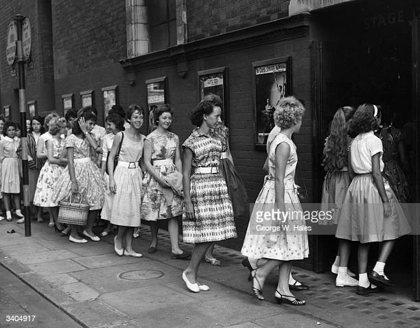 Young girls at the Palace Theatre London for an audition for a part in the play 'The Eyes of Youth'