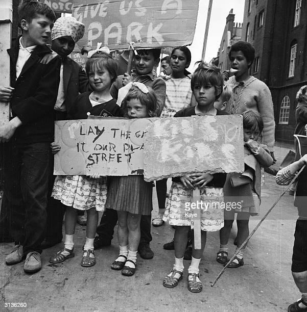 Children from Bethnal Green during a demonstration demanding a playground