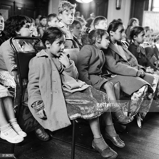 Children from Bethnal Green during a meeting demanding a playground