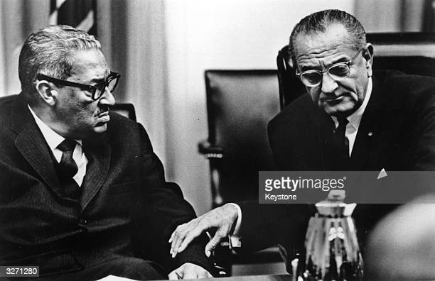 Judge Thurgood Marshall in discussion with statesman Lyndon Baines Johnson 36th President of the United States of America following Marshall's...