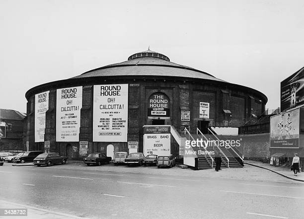 Banners advertising 'Oh Calcutta' at the Round House theatre in Chalk Farm north London