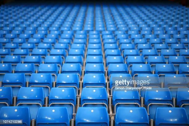 21st August 2017 - Premier League - Manchester City v Everton - Rows of empty blue seats - .