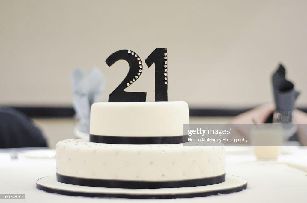 21st Birthday Cake Stock Foto