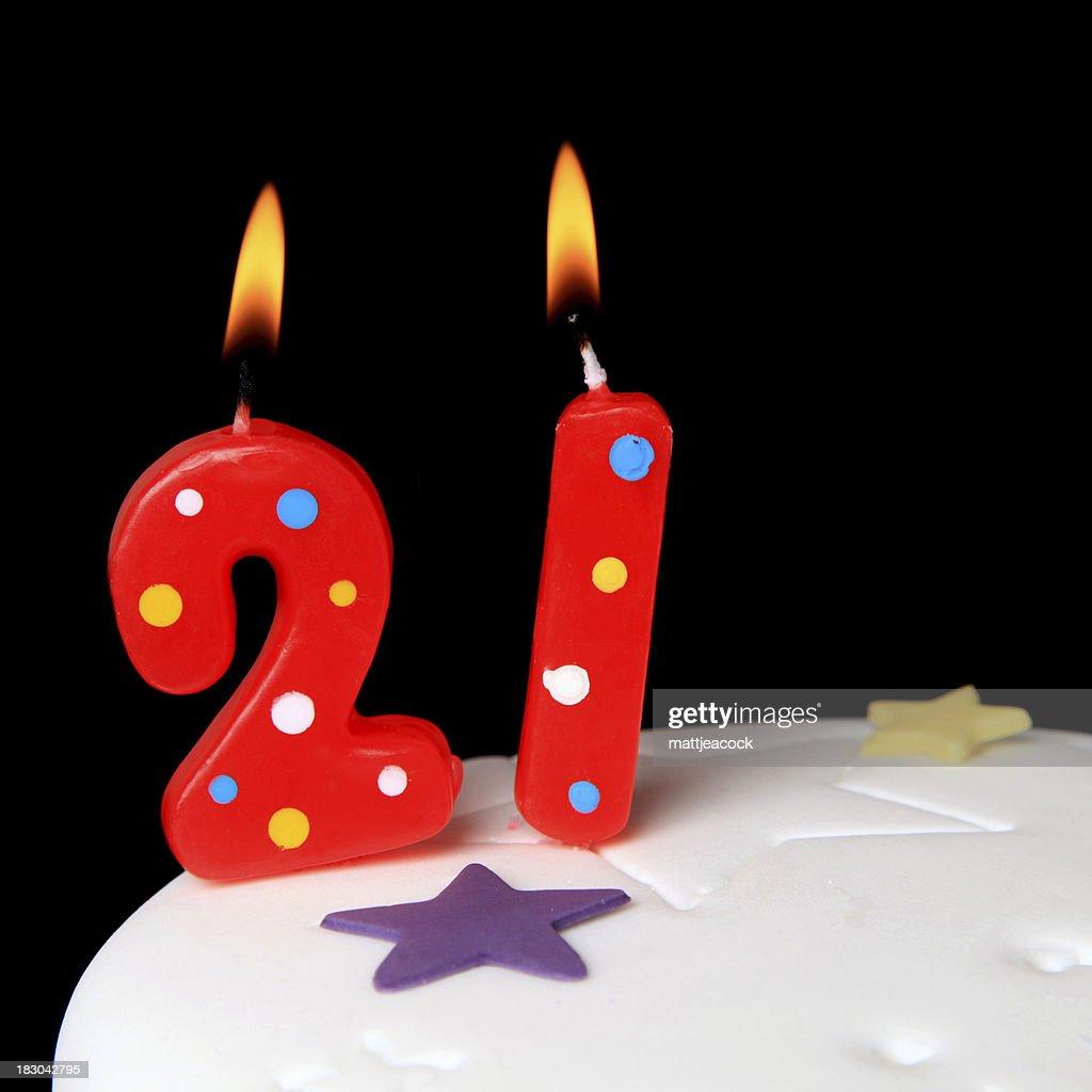 21 Geburtstag Kerzen Stock Foto