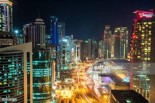 21st Century Doha skyline at dusk, Qatar