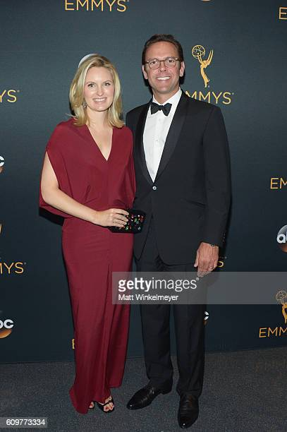 CEO 21st Century Fox James Murdoch and Kathryn Hufschmid attend the 68th Annual Primetime Emmy Awards at Microsoft Theater on September 18 2016 in...