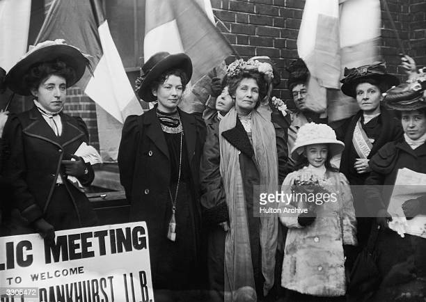 The English suffragettes Emmeline Pankhurst and her daughter Christabel Harriette founders of the Women's Social and Political Union in 1903 after...