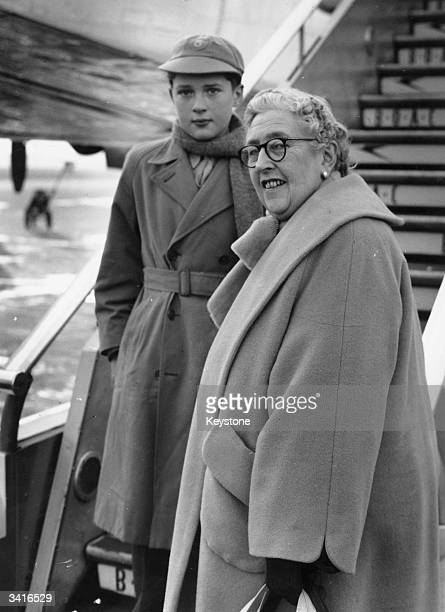 English crime writer Agatha Christie at an airport