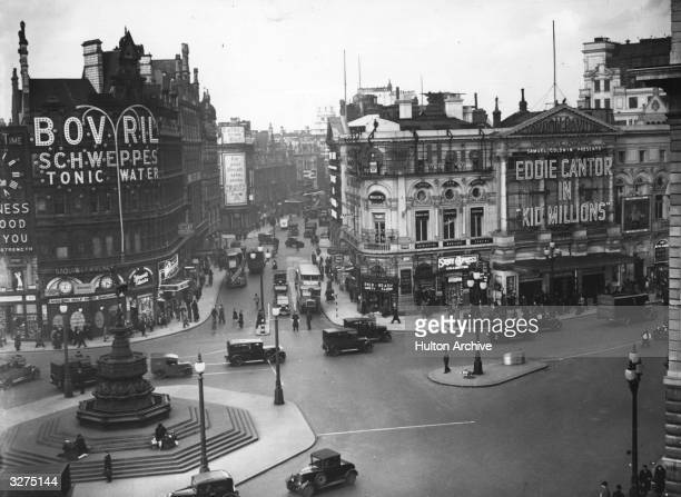 Piccadilly Circus London showing Shaftsbury Avenue and the statue of Eros