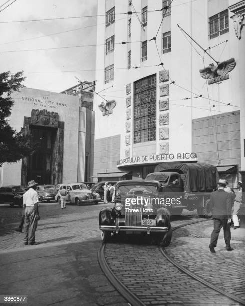 The buildings of the National City Bank of New York and the Banco Popular de Puerto Rico in San Juan Puerto Rico