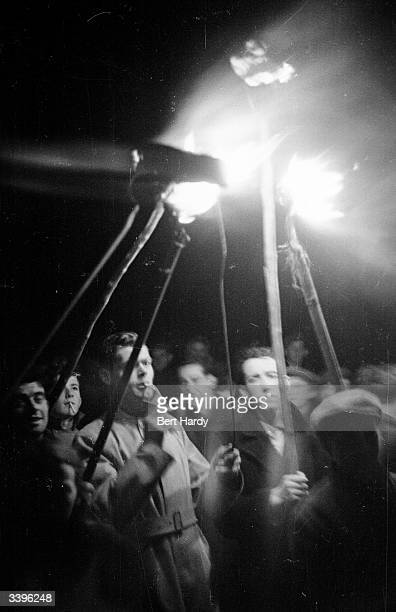 Torchlit procession during the 1948 Irish elections. Original Publication: Picture Post - 4511 - Eire Takes Hobson's Choice - pub.1948