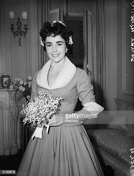 Britishborn actress Elizabeth Taylor on the day of her wedding to Michael Wilding