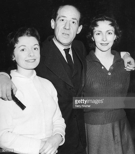 Actors Jane Wenham Michael Hordern and Rachel Gurney at a rehearsal for the television presentation of the Merchant of Venice They are playing...
