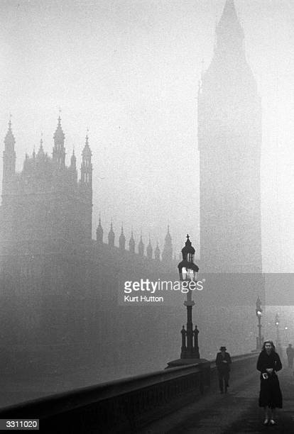 The Houses of Parliament London engulfed in fog Original Publication Picture Post 68 Foggy Morning pub 1939