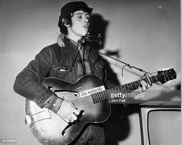 Folkpop singersongwriter Donovan rehearsing for a television appearance on the 'Ready Steady Go' pop programme at ITV house in London He has a...