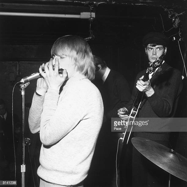 Keith Relf the lead singer of the British rhythm 'n' blues legends The Yardbirds with Paul SamwellSmith and Chris Dreja during a gig at Woolwich Lead...