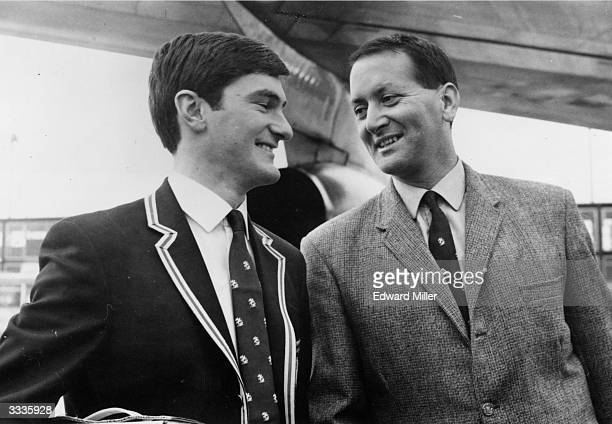 MCC cricketer Alan Knott left and Basil D'Oliveira about to board a plane at London airport as they leave for their tour of Ceylon and Pakistan