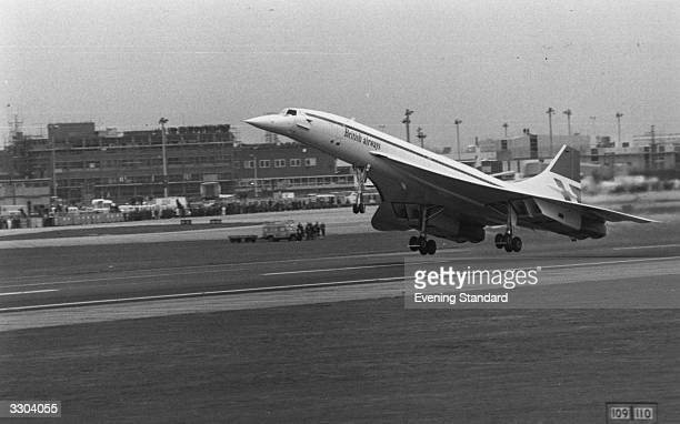 The take off at Heathrow Airport, London, of the first commercial Concorde flight.