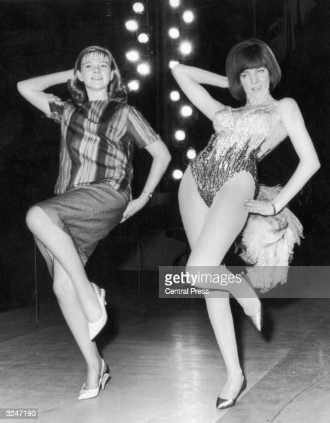 Fifteen year old Beverley Hadden teaching Cilla Black a dance routine for her performance in the charity gala 'Night of 100 Stars' at the London...