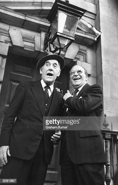 Tommy Trinder and Charlie Chester after attending the service of thanksgiving to Jack Warner at StMartinintheFields Church London