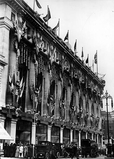 Selfridges store, London, decorated for the coronation...