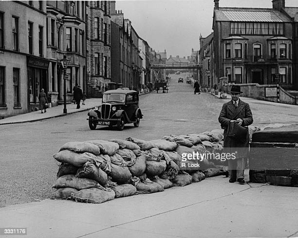 Sandbags in front of the sea wall in Bangor County Down in preparation for the Round the Houses Motor Car Race organised by the Ulster Automobile Club