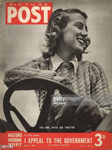 A British land girl driving a tractor on a farm during World War II The headline beneath reads 'I Appeal to the Government' Original Publication...