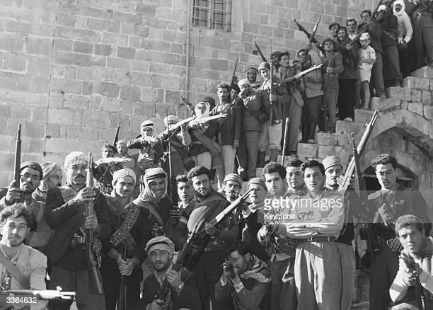 Armed partisans of Kamal Joumbatt, Druze leader of the rebellion in the Shouf district of central Lebanon.