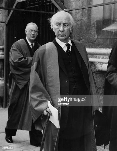 Dr Theodor Heuss former president of the Federal German Republic leaves the Sheldonian Theatre Oxford after receiving an honorary Civil Law degree
