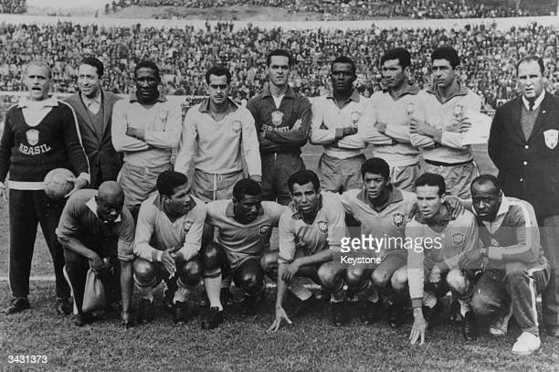 The Brazilian football team before the World Cup final in Santiago Chile Brazil took the Jules Rimet World Cup trophy for the second successive time...
