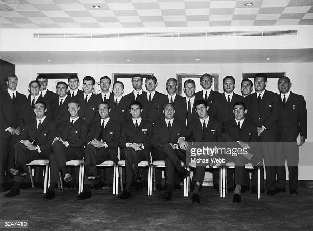 The 1966 England World Cup squad: Ron Flowers, Alan Ball, Norman Hunter, Martin Peters, John Connelly, Jimmy Armfield, Nobby Stiles, Geoff Hurst,...