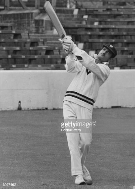 Indian skipper Ajit Wadekar bats at the Oval