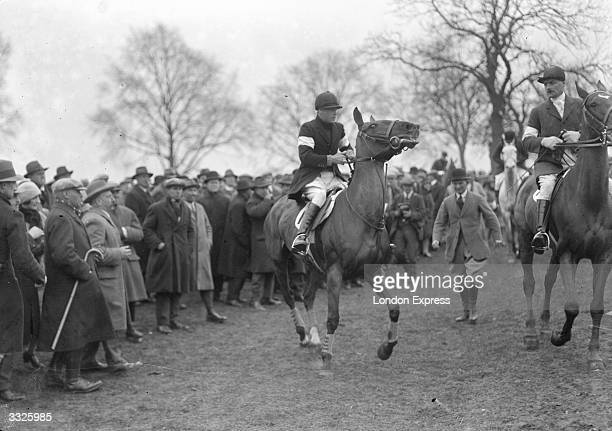 Edward Prince of Wales on a frisky horse at a Brigade of Guards pointtopoint meeting